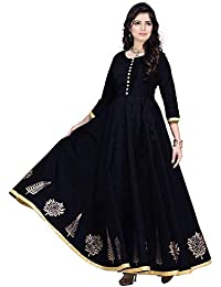 6e5bafbe42 Saptarangi Women s Taffeta Silk Heavy Embroidered Semi Stitched Party Wear  Gown (1 Black Free Size)