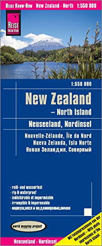 Nueva Zelanda, Isla Norte, 1:550.000 mapa impermeable de carreteras. Reise Know-How.