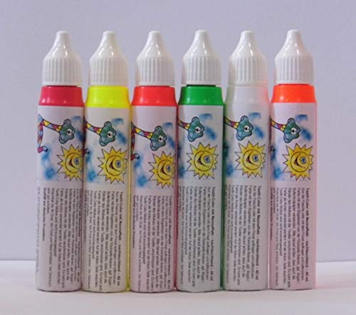 6er Set: NEON Textil-Color, NEONROT NEONORANGE NEONGELB NEONGRÜN NEONPINK NEONWEISS rot orange gelb grün blau weiß - 6 x 40 ml = 240 ml - Textil-Color mit Neon-Effekt - nachleuchtend - gebrauchsfertige, wasserbasierende Textilmalfarbe - brilliante und lebendige Farben - auch auf dunklen Textilien deckend - farbintensiv und lichtecht - waschbar bis 40 °C - Fixierung durch Bügeln - Qualität aus deutscher Produktion -