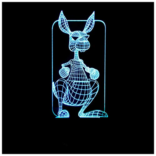 HW.Q Luz de noche 3D, colorido Canguro Luz de noche 3D Control remoto Control 3D Atmósfera casera Iluminación Lámpara de mesa pequeña LED 3D, luz de noche 3D Lámparas decoradas
