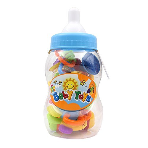 Baby's First Rattle and Teether Toy 9 Pieces with Giant Baby Bottle Coin Bank Gift Sets- Colors May Vary by Style-Carry (Baby Bottle Bank)