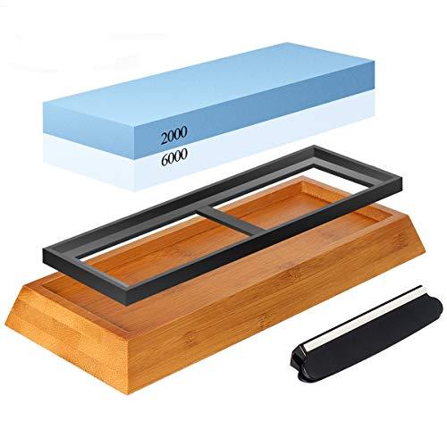 Preisvergleich Produktbild Abziehstein Schleifstein Set,  Zacfton Wetzstein mit 2000 / 6000 Körnung für Messer,  mit Messer schärfen und Gummi-Steinhalter sowie Bambus Basis und Messer-Halter