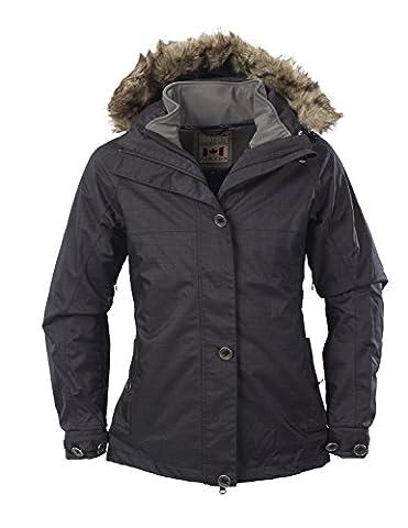 Fifty Five Damen 3-in-1 Dopplejacke | Winterjacke mit Innen-Jacke aus Softshell - Nakina anthracite 48 - mit FIVE-TEX Membrane für