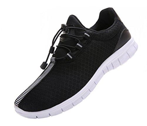 Juan Herren Laufschuhe Mode Breathable Sneakers Mesh Soft Sole Casual Athletic Leicht (MEN, 41EU / 8US, Schwarz)