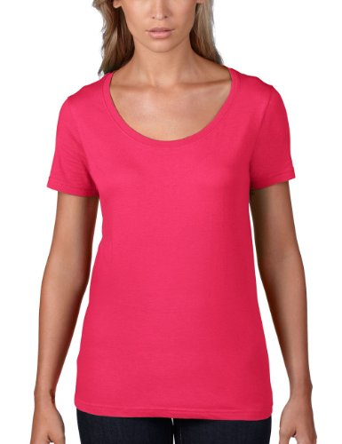 anvil Damen Lightweight Scoop Neck Tee tailliert / 391, Gr. 38 (M), Pink (HPK-Hot Pink) (T-shirt Neck Armee Scoop Womens)