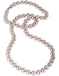 Bella Donna Damen- Süßwasser-Zuchtperlen Collier 925 Silber SW-ZP 6-6,5 mm pink Potato ca. 45 cm