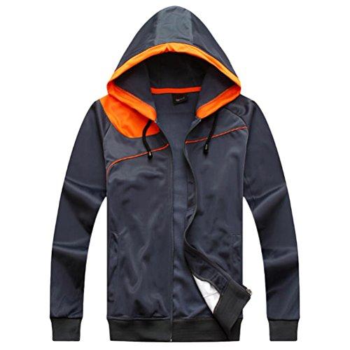 Zhuhaitf Alta qualità Men's Casual Sports Tops Fashion Long Sleeve Hooded Zipper Jacket Gray