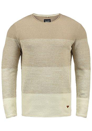 Blend Benno Herren Strickpullover Feinstrick Pullover Mit Rundhalsausschnitt Aus 100% Baumwolle, Größe:S, Farbe:Beige Brown (71509)