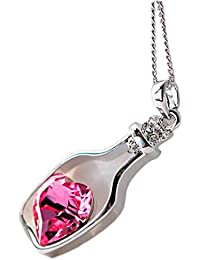 Collar para mujer, FEITONG Botellas collar de la mujer de las señoras de la manera populares en Crystal Amor Drift (Hot Pink)