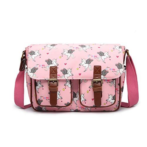 Miss Lulu Umhängetasche Schulranzen Bookbag Wachstuch Vogel Blume Einhorn Cross-Body Handtasche (Einhorn Pink)
