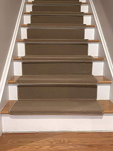 James Fashion-Bullnose rutschfeste Teppich-Stufenmatten mit Klebestreifen, 25,4 x 5,1 x 76,2 cm, Beige, 13 Stück, Bullnose Beige with Riser, Set of 13 -