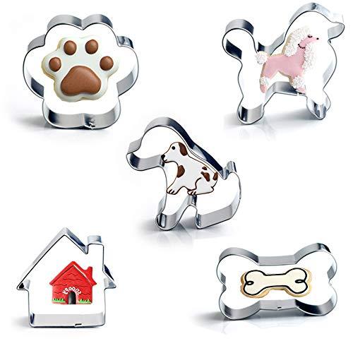 Hundeknochen-Ausstecher-Set mit 5 Stück - einschließlich Hundeknochen, Pfotenabdruck, Welpen, Pudel und Hundehaus-Ausstechformen, niedliche Edelstahl-Keksausstecher Fondant-Kuchenformen für Kinder -