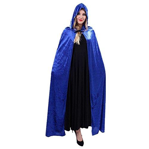 Zauberer Kap-Schal-Halloween-Party-Kapuzenumhang Mantel Wicca Robe Kapuzen-Umhang Cape Blau (Klassische Hexe Erwachsene Kostüme)