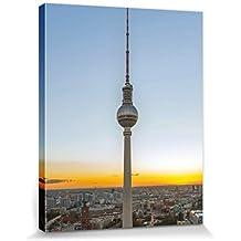 Berlín - Torre De La Televisión, Fernsehturm Cuadro, Lienzo Montado Sobre Bastidor (50 x 40cm)