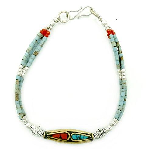 Bluewave Einzigartige Nepali Ethnic Vintage-Stil tibetisches Silber Nepal Glasur Main Bead Türkis und Rot Koralle handgefertigt Armband (mit schönen Geschenkbox)