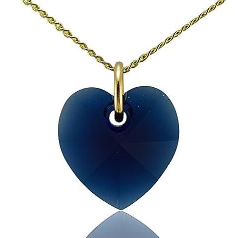 Collier cœur or massif 9ct Chaîne Indigo foncé Cristal Swarovski 40,6cm 45,7cm 50,8cm ou pendentif uniquement: 0,0