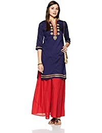 Myx Women's Embroidered Straight Kurta