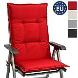 Beautissu Hochlehner Gartenstuhl Auflage Base HL 120x50x6cm Sitzkissen Rückenkissen Stuhlkissen für Gartenstühle Sitzpolster Rot