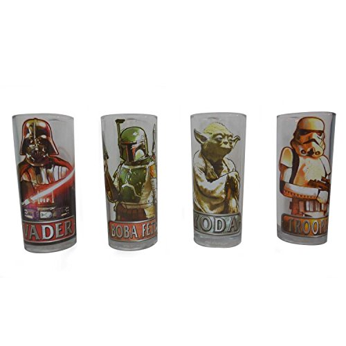 Star Wars Silver Buffalo SW031T1 Characters with Names Glass Tumbler Set (4-Piece Set), 10 oz, Clear