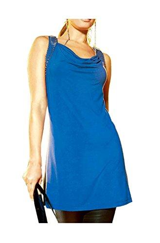 Unbekannt -  T-shirt - Opaco - Donna Blu