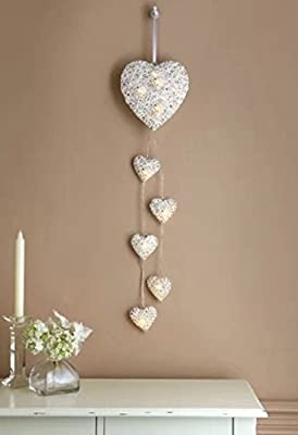 Vintage Decore 6 Wall Hanging Hearts String Led Lights Rattan Hearts Wall Decal