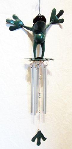 Carillon Canard Double en aluminium et dessus en forme de grenouille (Vert)