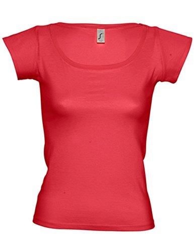 Sols Boat Neck T-Shirt Damen Ausschnitt 100% Baumwolle von noTrash2003® Red