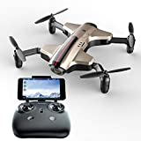 Ycco Drone 1080P HD Videocamera Live Video, Motori brushless modalità Follow Me 120 ° Altitudine Grandangolo Hold One Key Return Easy-Fly Quadcopter per Adulti e Principianti Modello High