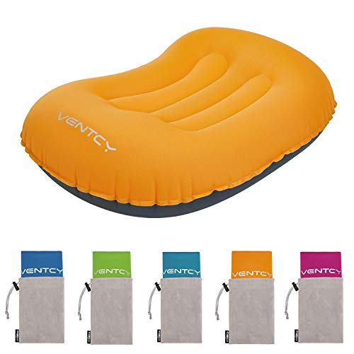 VENTCY Aufblasbares Camping Kissen Ultralight Reisekissen Komfortables Ergonomisches Kissen Klein Selbstaufblasendes Leichtes Pillow für Büro Urlaubsreise Outdoor Orange