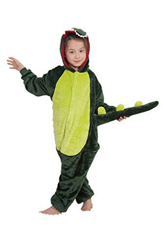 Missley Einhorn Pyjamas Kostüm Overall Tier Nachtwäsche Erwachsene Unisex Cosplay (115CM, Green Dinosaur-Children)