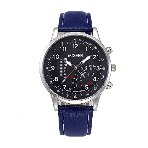 Gloaming Mens-Weinlese-Entwurfs-Lederband-Uhr, Retro- analoge Legierungs-Quarz-Armbanduhr