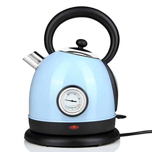 Monzana® Wasserkocher Teekocher Teekessel • Edelstahl • kabellos • Retro Design • blau • 1,8l • 2200W • Temperaturanzeige • Wasserstandsanzeige • herausnehmbarer, auswaschbarer Filter • 360° drehbarer Kontaktsockel