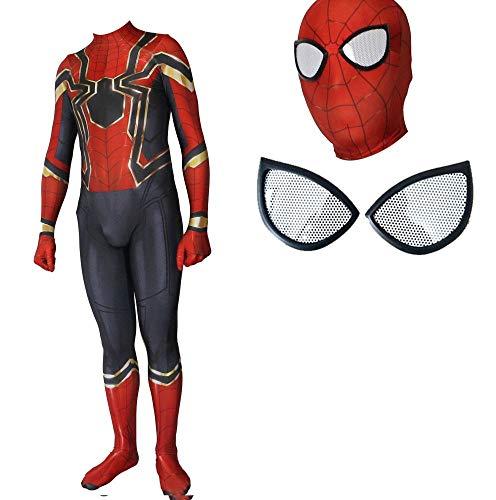 Machen Kostüm Zu Iron Mann - HEROMEN Iron Spiderman Kostüm Halloween Cosplay Siamese All-Inclusive Strumpfhose Kleidung Für Erwachsene Kind,EyemaskA-ChildXL
