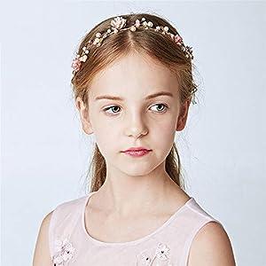 Uiophjkl Hochzeit Braut Perle Blume Kinder Brautjungfer Haar führen Blume Blumen Legierung Diamant Hochzeit Kranz Stirnband Haarklammer