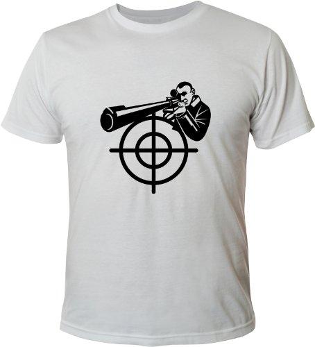 Mister Merchandise Cooles Fun T-Shirt Sniper Scharfschütze Weiß