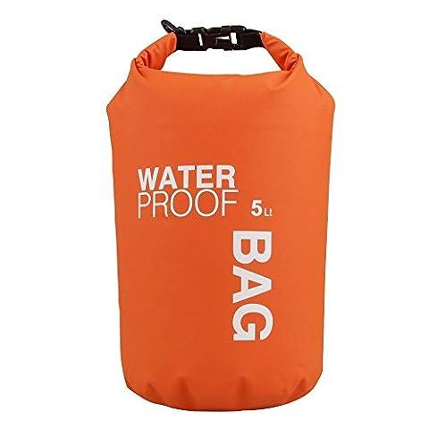 WINGONEER 5 Litres Sac étanche, boîtier étanche pour piscine, Surf, pêche, canotage, ski, camping et autres sports de plein air, Protest votre article personnel contre l'eau, la pluie, la neige et Sweat - 5L Orange