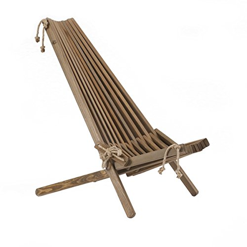 Jardinion Design Holz-Stuhl Relax-Liege Pekka, Kiefer, Braun, Klapp-Sitz Verstellbar Öko...