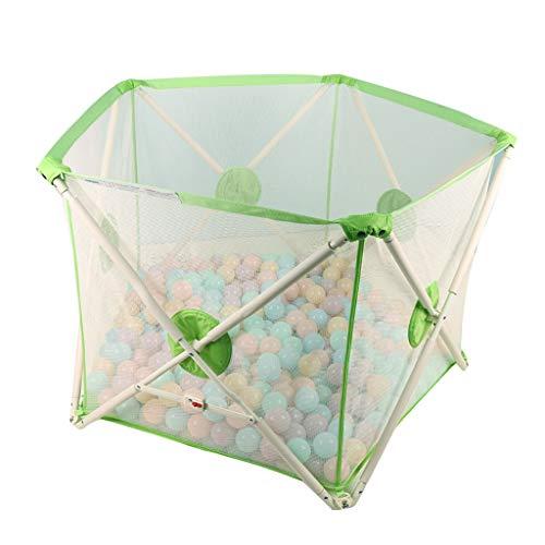 Parc pour enfants parc pour enfants Clôture en plastique Polygone de clôture de jeu verte pour enfants famille de terrain de jeu familial portable de barrière de sécurité pour enfants, envoyer 100 bal