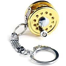 Mini Charactor Carrete De Pesca Con Mosca En Miniatura Llave De Oro Anillo De Llavero Llavero