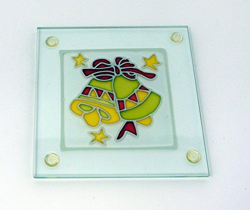 Klares Glas Glocke (Glas klar Weihnachten Untersetzer 4er-Set Buntglas-Effekt, glas, Bells Design, 9 x 9cm)