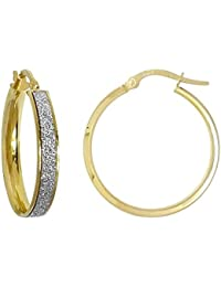 Jewelco London Ladies 9ct Yellow Gold MoonDust StarDust Hoop Earrings 20mm