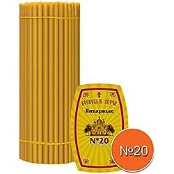 Diveevo Lot de 100 Bougies en Cire d'abeille N20 Hauteur 30,5 cm Cire d'église Qualité supérieure