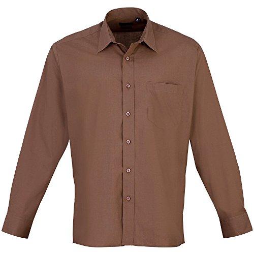 Premier Workwear Herren Businesshemd Poplin Long Sleeve Shirt Mocha