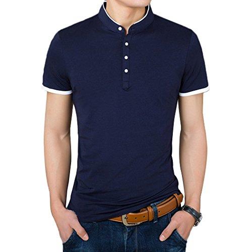 Summer Mae Herren Poloshirt Beiläufig mit Mandarinenkragen und weißen Wörtern Blau