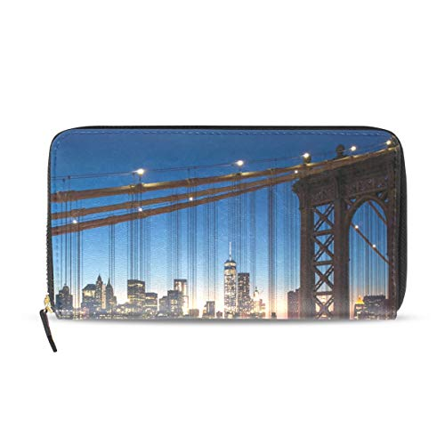 Damen Geldbörse New York City Beautiful Sunset Manhattan Clutch Leder Reißverschluss - New York-geldbörse