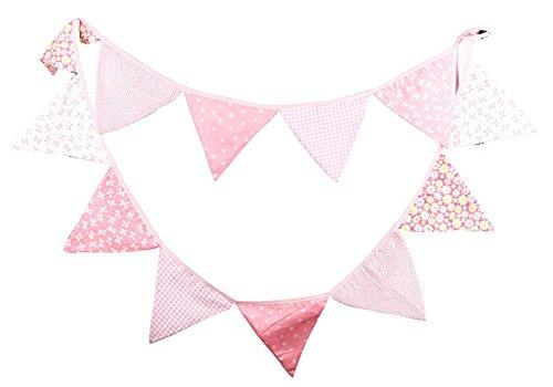 outflower Vintage al aire libre flores de Tina Olsson, banderines de cumpleaños 12banderas de tela Decor pancarta rosa 3,2m