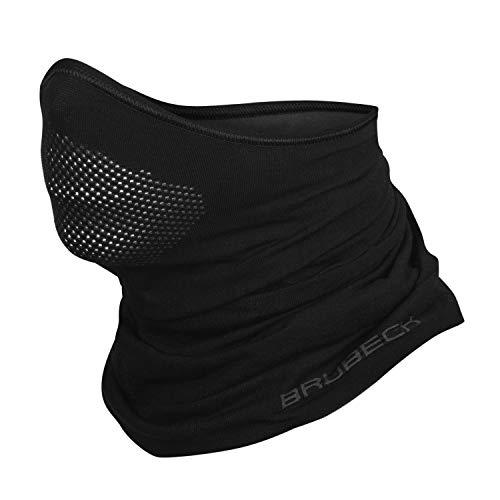 BRUBECK® X-PRO Mitad Pasamontañas | Balaclava | Regulación del clima | Máscara facial | Máscara de tormenta | Ropa funcional | Transpirable | Antialérgico | Antibacteriano, Tamaño:S - M;Color:Black