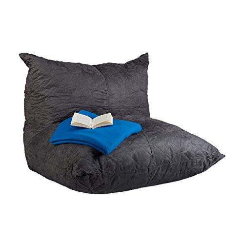 Relaxdays Sitzsack XXL, Bodenkissen mit Lehne, Velour-Optik, Füllung, für Erwachsene,...