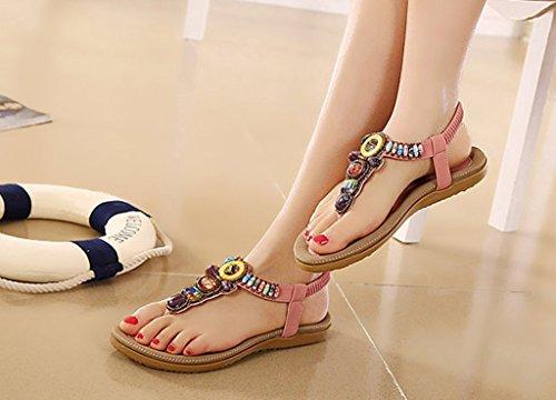 Bigood Sandales Femmes Plates en Cuir Chaussures Plage avec Perles Style Bohême Rose