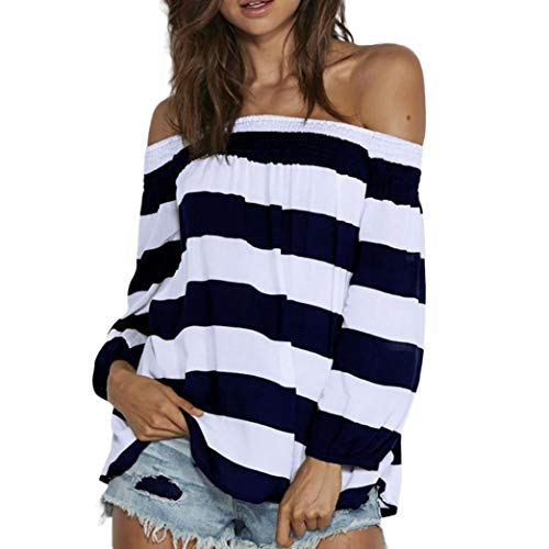 Streifen Shirt Damen WWricotta Schulterfrei Oberteil Langarmshirt Bluse Loose T-Shirt Off Schulter Casual Reizvolle Trägerlos Top